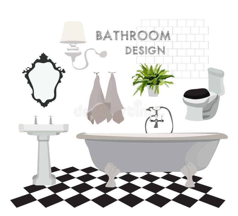 Vector binnenlandse ontwerpillustratie de elementen van het badkamerstoilet de spiegelhanddoeken van de badgootsteen de tegels va stock illustratie