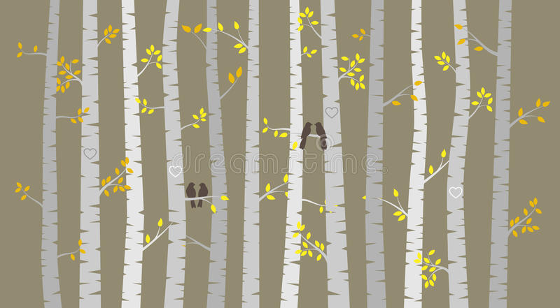 Vector Birch or Aspen Trees with Autumn Leaves and Love Birds. Or Bird Couples stock illustration