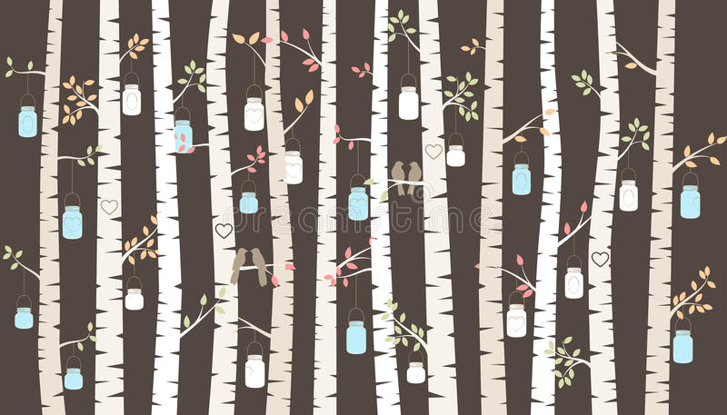 Vector Birch or Aspen Trees with Hanging Mason Jars and Love Birds. Vector Birch or Aspen Trees with Hanging Mason Jar Lights and Love Birds stock illustration