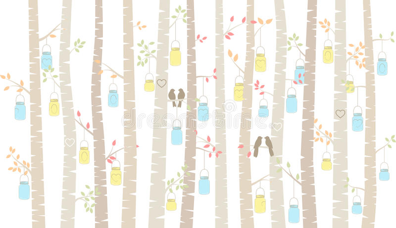 Vector Birch or Aspen Trees with Hanging Mason Jars and Love Birds. Vector Birch or Aspen Trees with Hanging Mason Jar Lights and Love Birds royalty free illustration
