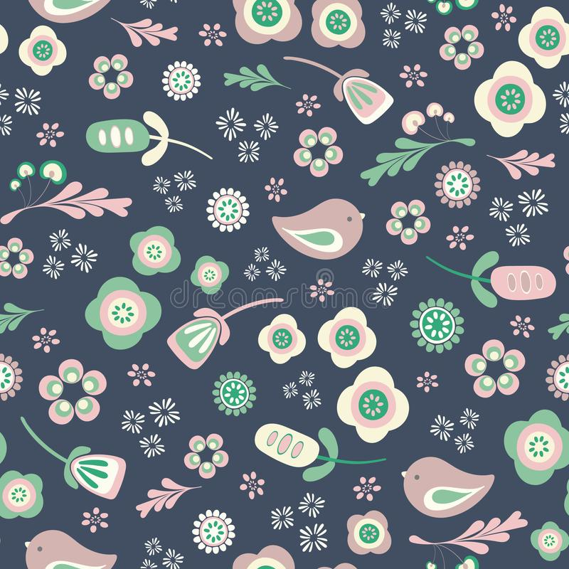 Vector birds and floral seamless repeat pattern. Birds and floral seamless pattern background.Perfect for scrap booking, stationary and fabric projects royalty free illustration