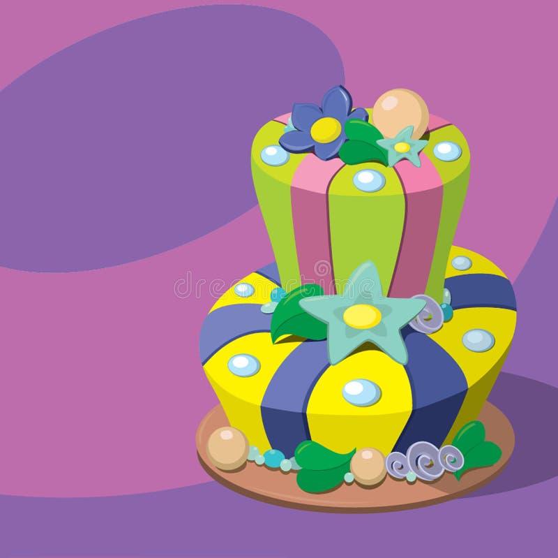 Vector birthday cake. Greeting Card stock illustration