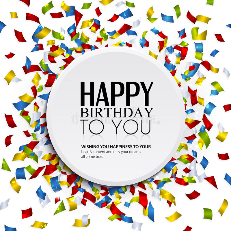 Vector Birthday Card With Confetti And Birthday Te Vector – Vector Birthday Card