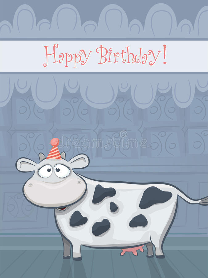 Download Vector Birthday Card With Funny Cow Stock Vector - Image: 20912761