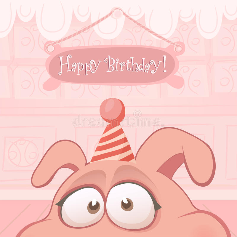 Download Vector Birthday Card With Funny Pig Stock Vector - Image: 20587812