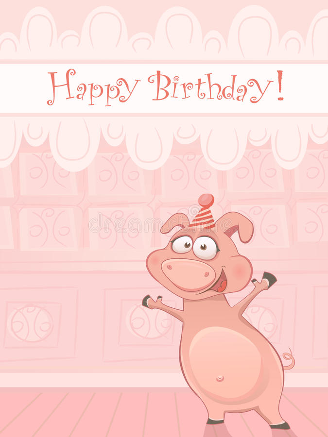 Vector birthday card with funny pig stock vector illustration of download vector birthday card with funny pig stock vector illustration of frame card bookmarktalkfo Image collections
