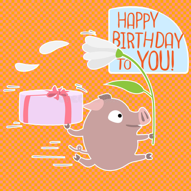 Vector birthday card with funny pig stock vector illustration of download vector birthday card with funny pig stock vector illustration of gift background bookmarktalkfo Image collections