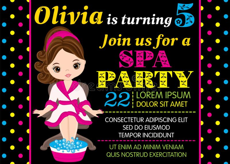 Vector Birthday Card Template with Cute Little Girl Taking Spa Treatment. Vector card template with cute little girl taking treatment in spa. Card template for vector illustration