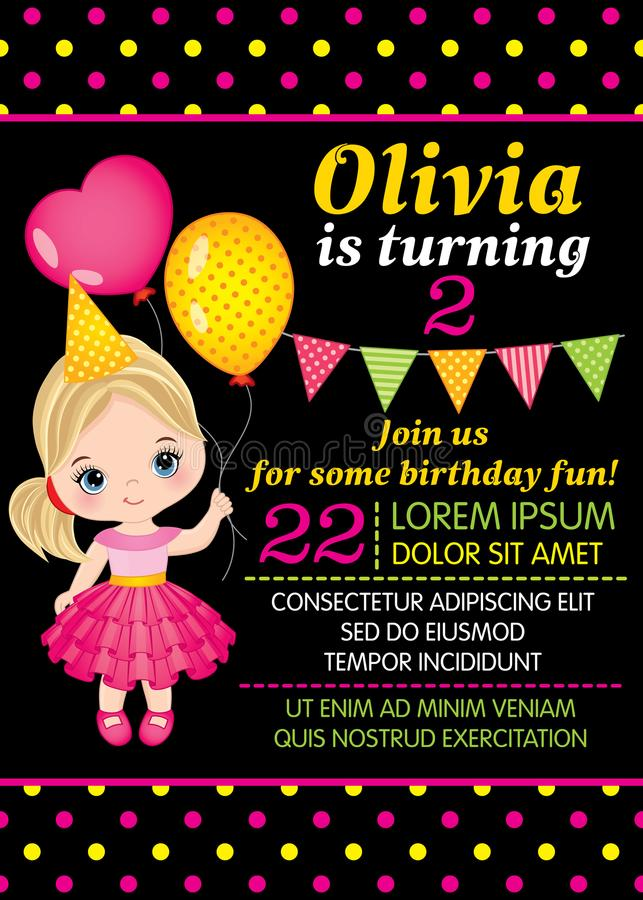 Vector Birthday Card Template with Cute Little Girl vector illustration