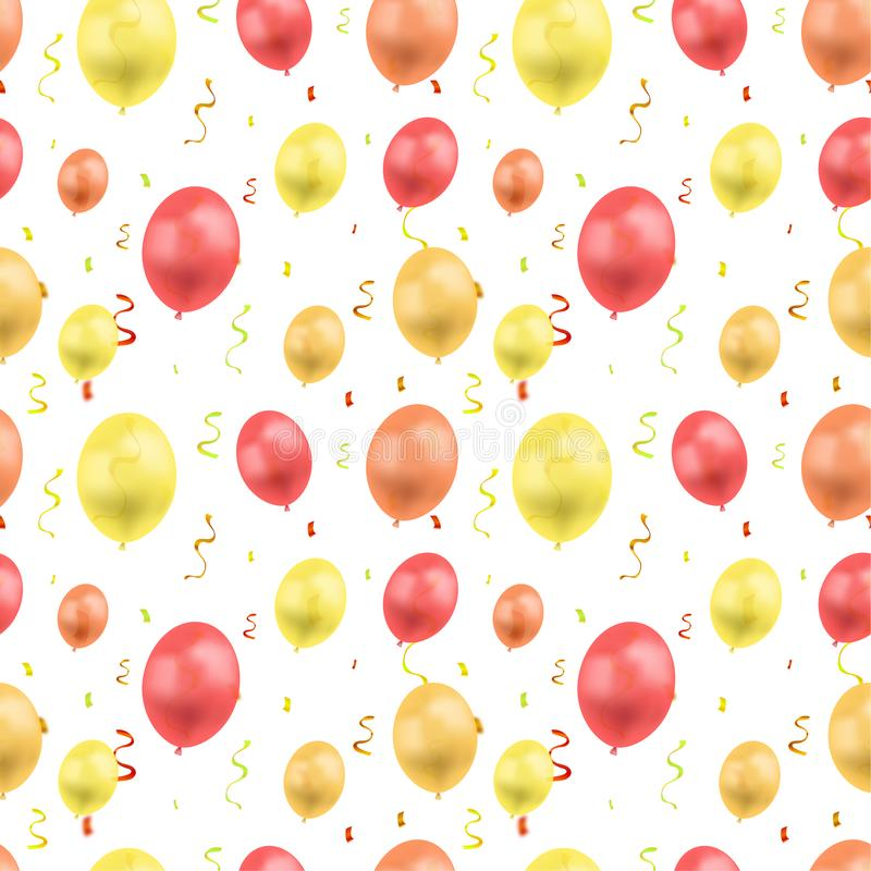 Vector Birthday Colorful Background Template, Seamless Pattern, Golden Confetti and Different Colored Balloons. stock illustration