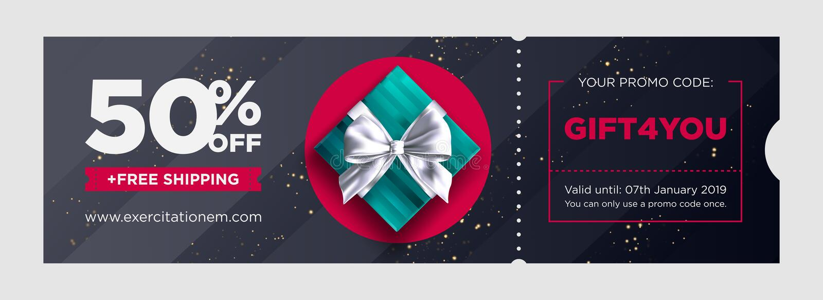 Vector Birthday Gift Coupon. Elegant Christmas Voucher Design. stock illustration