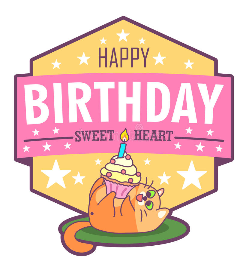 Vector birthday greeting card with fat cat and cake. Bright happy colors. Cute design in cartoon style stock illustration