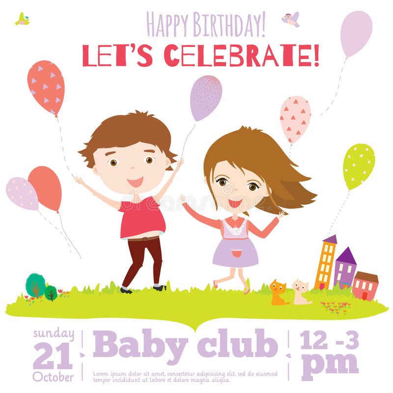 Vector Birthday Invitation Card On Baby Party With Stock