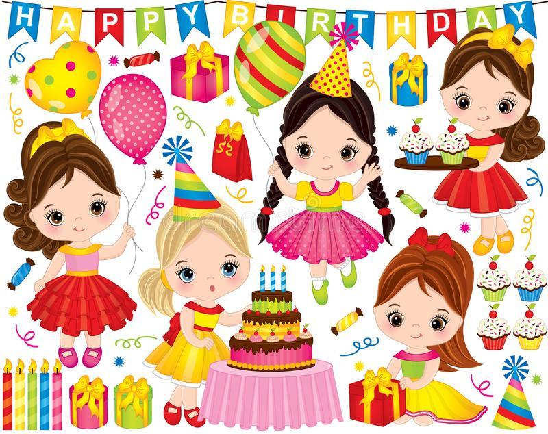 Vector Birthday Set with Cute Little Girls and Party Elements. Vector birthday set. Set includes cute little girls with cake, balloons, cupcakes and gift boxes