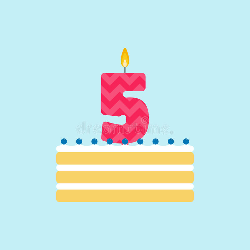 Vector biscuit birthday cake with a candle number 5 stock image