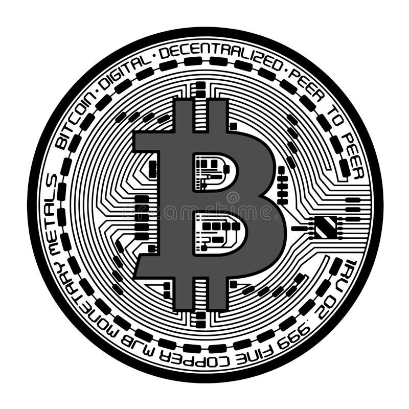 Vector bitcoin illustration. Bitcoin digital crypto currency. Vector illustration isolated on white background royalty free illustration