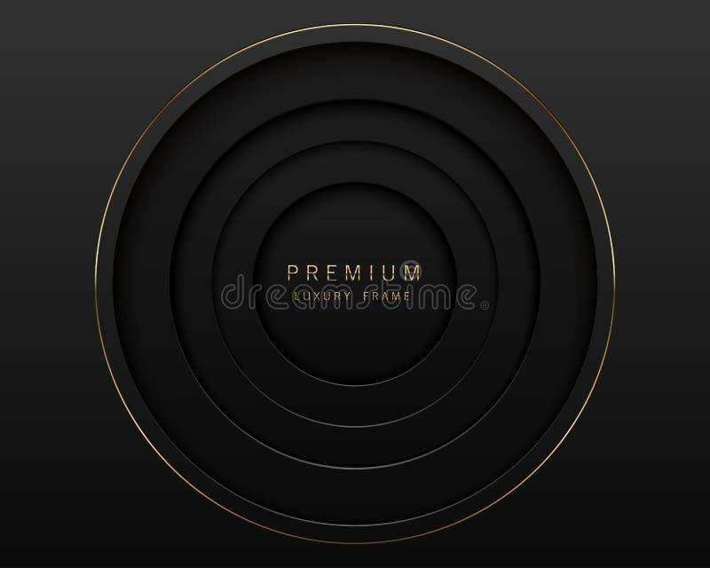 Vector black abstract round paper cut luxury frame. Premium label dark design background. Golden line frame. Papercut layered royalty free illustration