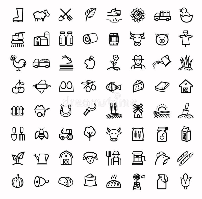 Vector black agriculture and farming icons set stock illustration