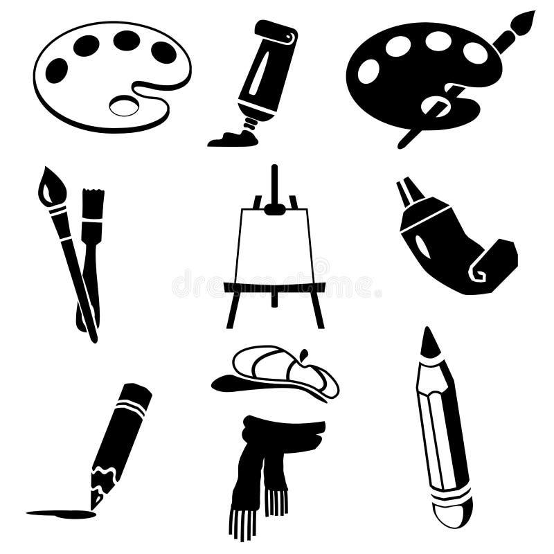 Vector black art icon set on white. Isolated illustration black art icon set on white. Vector royalty free illustration