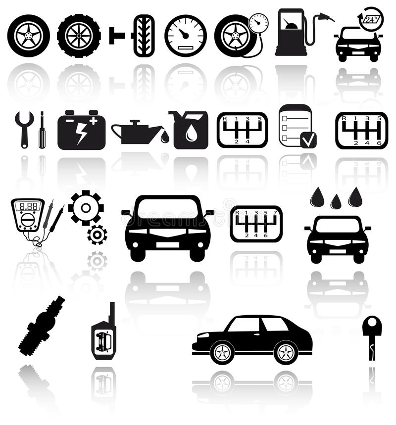 Vector Black Auto Icons Set Royalty Free Stock Photography