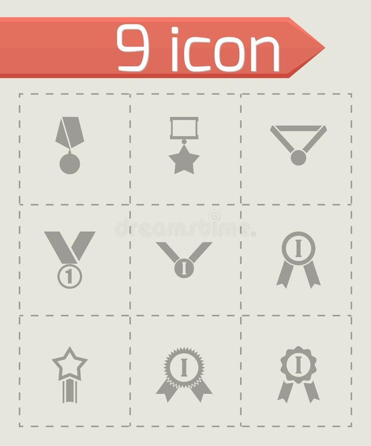 Vector black award medal icon set. On grey background vector illustration