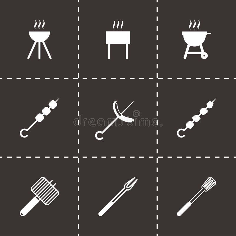 Vector black barbecue icon set. On black background vector illustration
