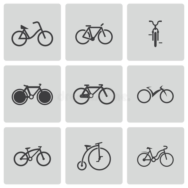 Vector black bicycle icons set stock illustration