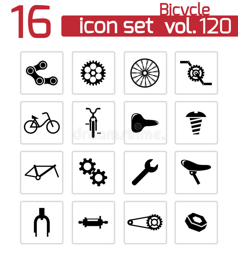 Vector black bicycle part icons. Set royalty free illustration