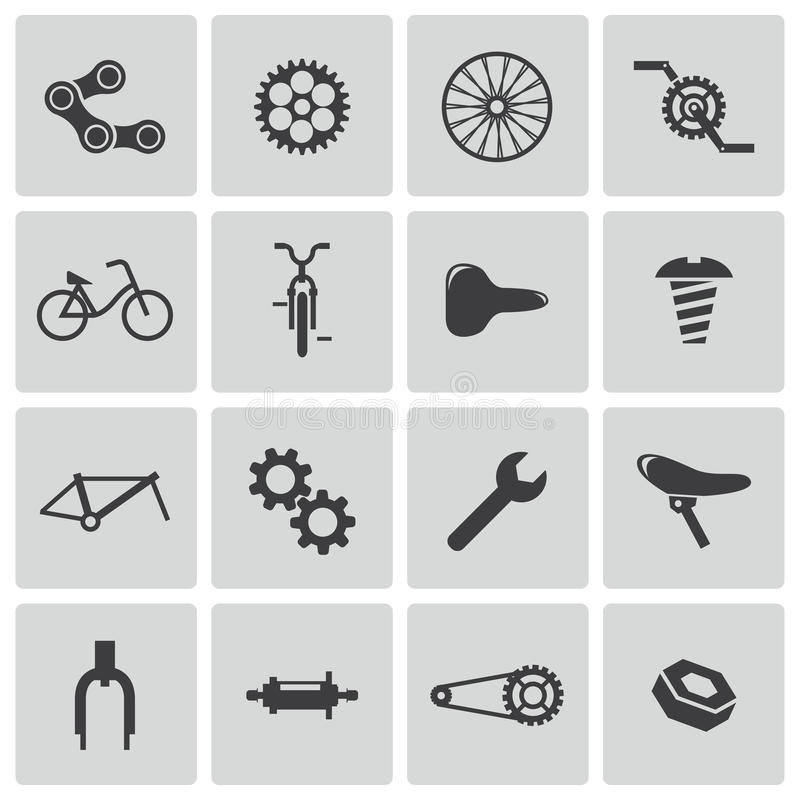 Vector black bicycle part icons stock illustration