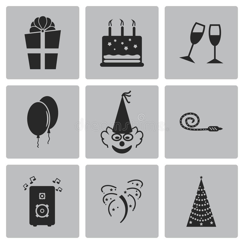 Vector black birthday icons set stock illustration