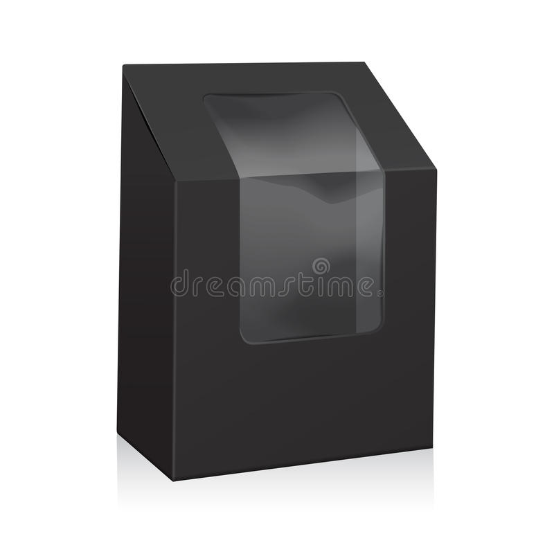 Vector Black Blank Cardboard Triangle Box. Take Away Boxes Packaging Mock up For Sandwich, Food, Present, Other Products. With Plastic Window for your design stock illustration