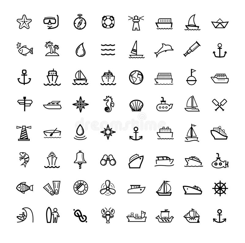 Vector black boat and ship icons set. This is file of EPS10 format royalty free illustration