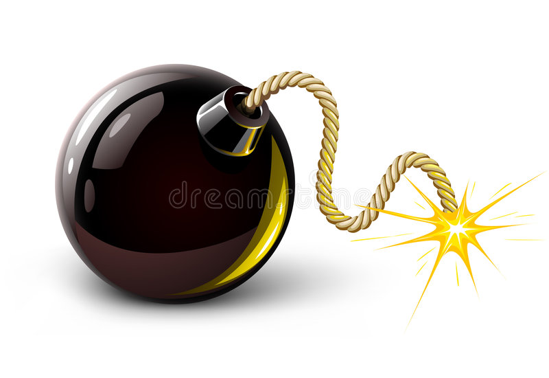 Vector black bomb burning royalty free illustration