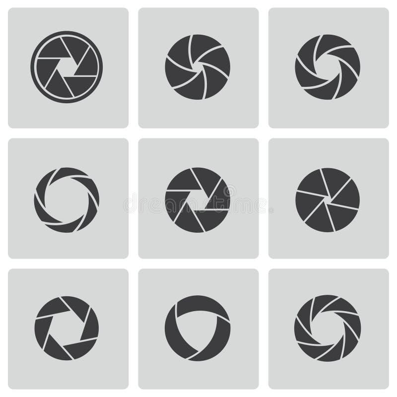Vector black camera shutter icons set stock illustration