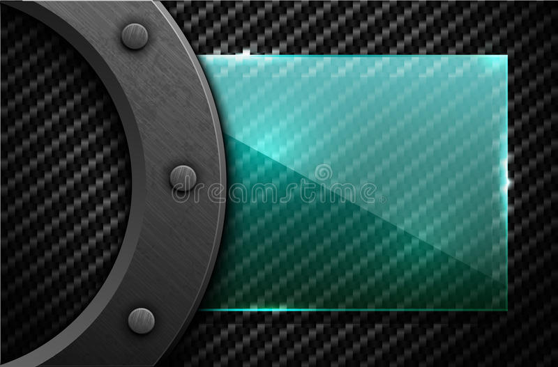 Vector black carbon fiber background with dark grunge metal ring and rivet. Scratched riveted surface with green transparent glass royalty free illustration