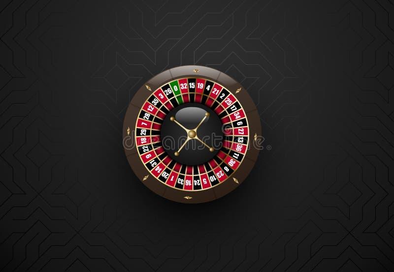 Vector black casino gambling roulette wheel. Dark silk geometric background. Online casino web banner, logo or icon. Vector black casino gambling roulette wheel stock illustration