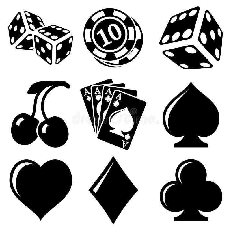 Vector black casino icons set. On white stock illustration