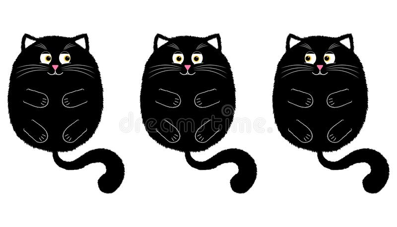 Vector Black Cat in Cartoon Style. 2. Vector Black Cat in Cartoon Style. Funny Illustration of Black Kitten with Orange Eyes, Lying on the Back with Paws and vector illustration