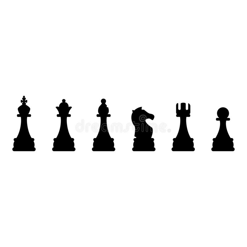 Free Vector Black Chess Silhouette Icons Royalty Free Stock Images - 176235189