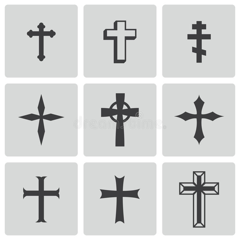 Vector black christian crosses icons set royalty free illustration