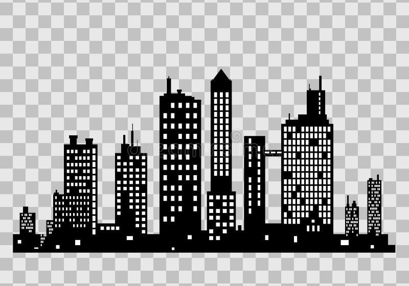 Vector black city silhouette icon vector illustration
