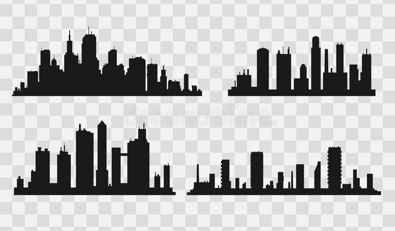 City skyline. Flat style. Vector black city silhouette icon set isolated.The silhouette of the city in a flat style on white backgroun vector illustration