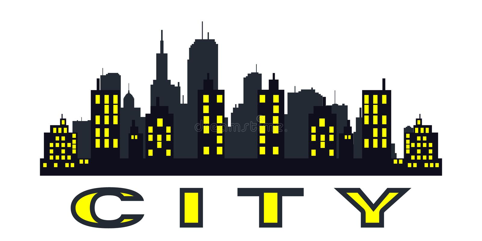 City skyline. Flat style. Vector black city silhouette icon set isolated.The silhouette of the city in a flat style on white backgroun royalty free illustration