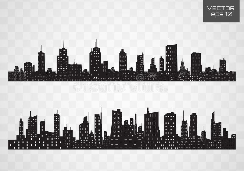 City skyline. Flat style. Vector black city silhouette icon set isolated.The silhouette of the city in a flat style on white backgroun stock illustration