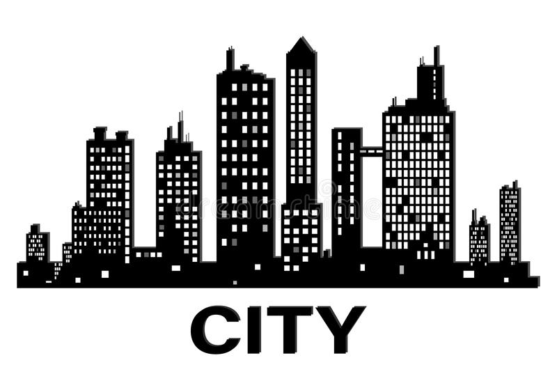 Vector black city silhouette icon stock illustration