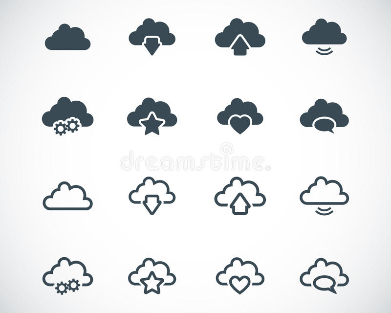 Download Vector Black  Clouds  Icons Stock Illustration - Image: 34169375