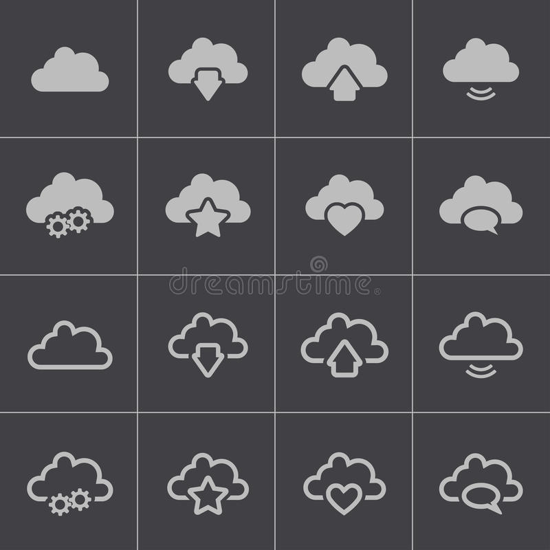 Vector black clouds icons set. This is file of EPS10 format stock illustration