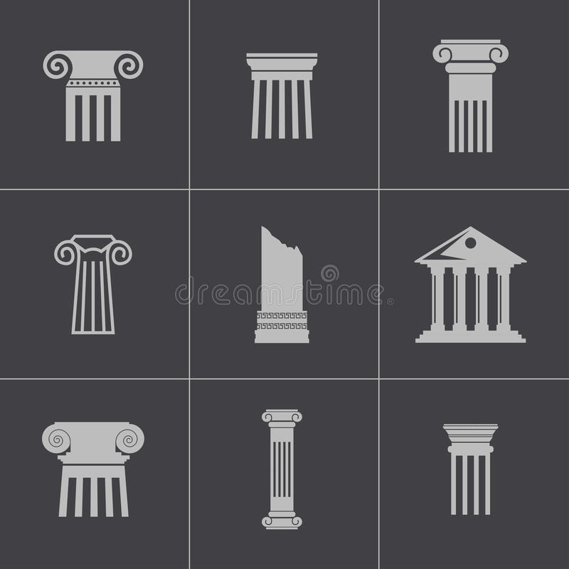 Vector black column icons set royalty free illustration