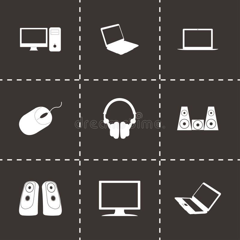 Vector black computer icons set stock illustration