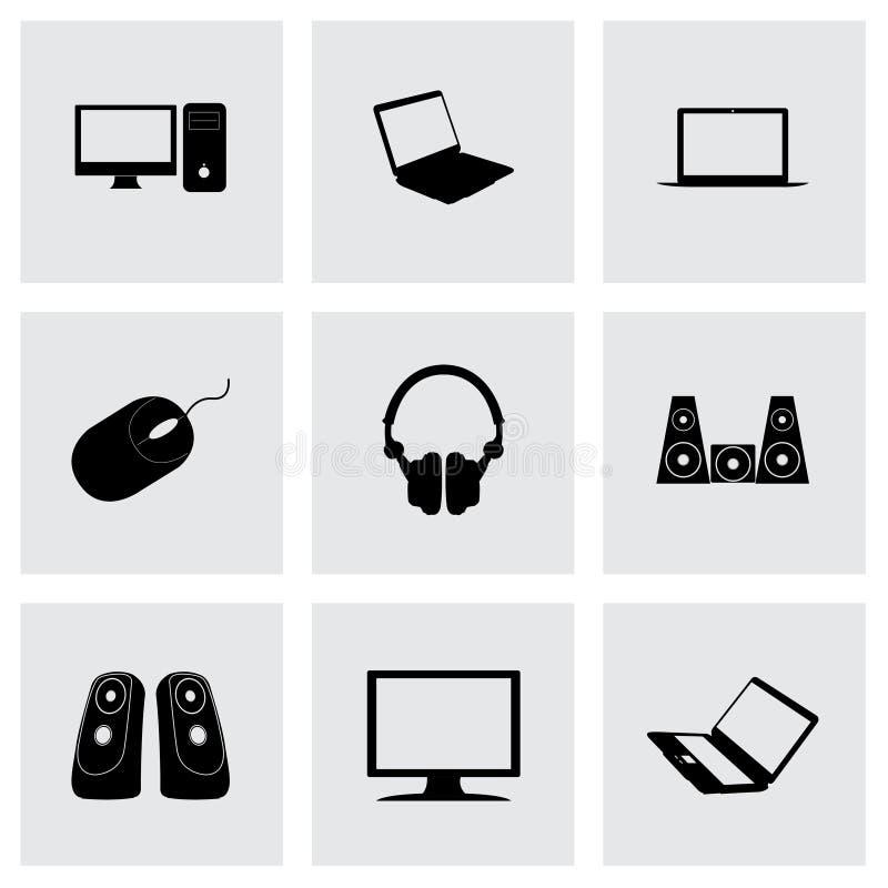 Vector black computer icons set royalty free illustration